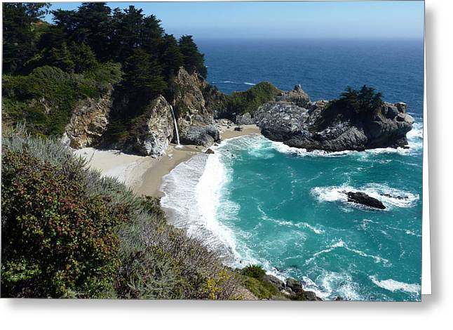 Spectacular Mcway Falls In Julia Pfeiffer Burns State Park Greeting Card by Carla Parris