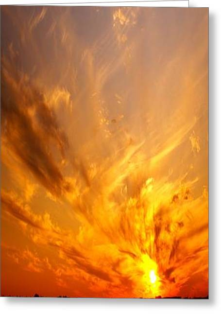 Amazing Sunset Greeting Cards - Spectacular Sunset Greeting Card by Florene Welebny