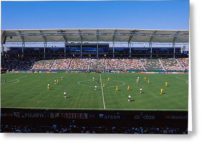Endurance Sports Greeting Cards - Spectators Watching A Soccer Match Greeting Card by Panoramic Images