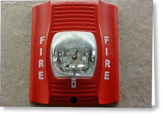 Grocery Store Greeting Cards - SpectrAlert Advance fire alarm strobe Greeting Card by Ben Schumin