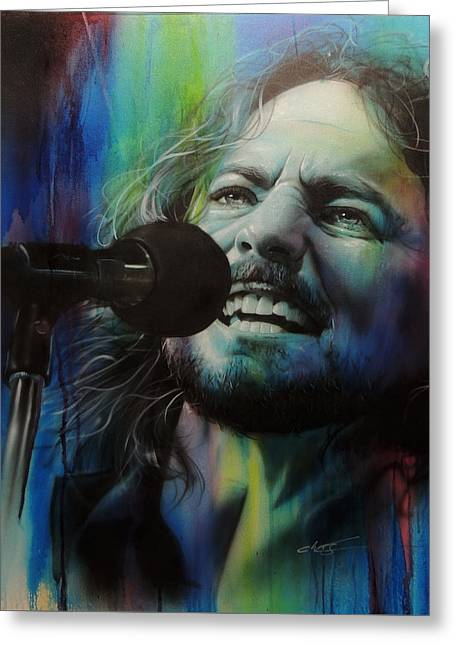 Pearl Jam Greeting Cards - Spectrum of Vedder Greeting Card by Christian Chapman Art