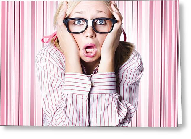 Trepidation Greeting Cards - Speechless nerd covering ears in silent shock Greeting Card by Ryan Jorgensen