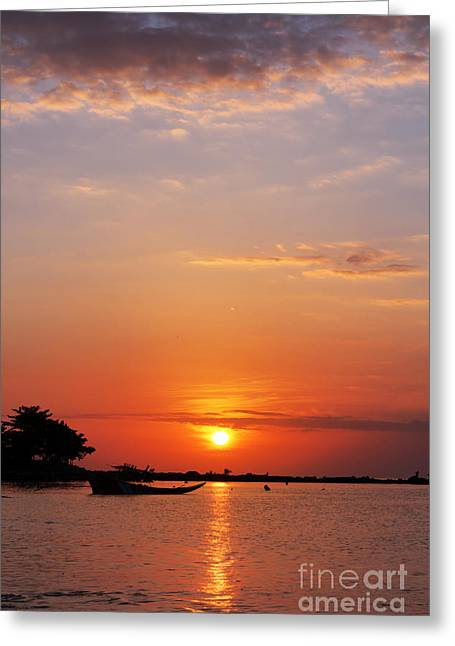 Fishermans Island Greeting Cards - Speed boat and sunset Greeting Card by Atiketta Sangasaeng