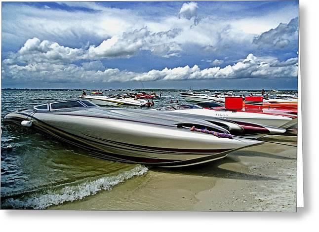 Poker Run Boat Greeting Cards - Speed Greeting Card by Randy Duffey