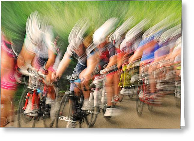 Cycling Greeting Cards - Speedwaves Greeting Card by Lou Urlings