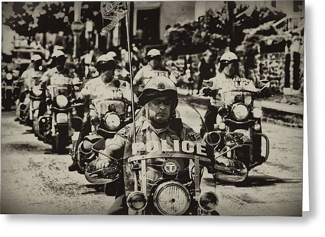 Police Motorcycles Greeting Cards - Speedy Motorcycle Greeting Card by Bill Cannon