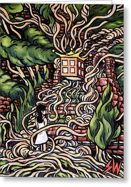 Noodles Paintings Greeting Cards - Speghetti Tree Greeting Card by Sean Washington