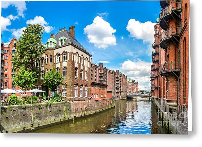 Historic Ship Greeting Cards - Speicherstadt warehouse district in Hamburg Greeting Card by JR Photography