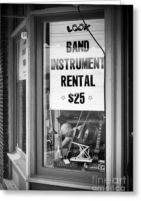 Music Store Greeting Cards - Spencer Music Store Greeting Card by Patrick M Lynch