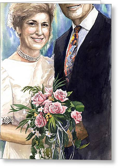 Watercolour Paintings Greeting Cards - Spenser and Danise Greeting Card by Yuriy  Shevchuk