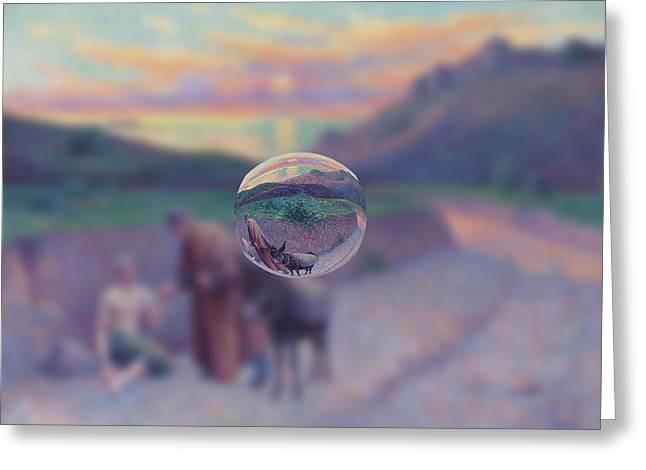 Sphere 10 Luce Greeting Card by David Bridburg
