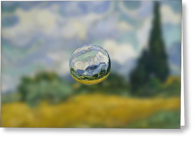 Abstract Digital Digital Art Greeting Cards - Sphere 7 van Gogh Greeting Card by David Bridburg