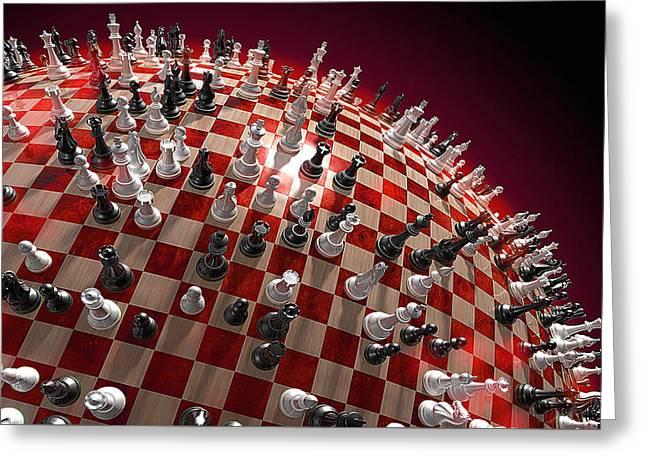 Spherical Chess Board World Greeting Card by Jovemini ART