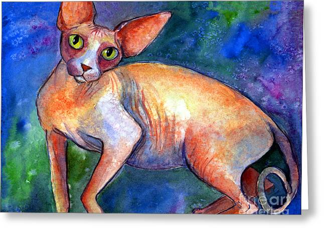 Cat Drawings Greeting Cards - Sphynx Cat 4 painting Greeting Card by Svetlana Novikova