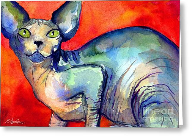 Pet Greeting Cards - Sphynx Cat 6 painting Greeting Card by Svetlana Novikova