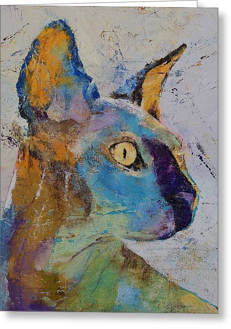 Sphynx Cat Prints Greeting Cards - Sphynx Cat Greeting Card by Michael Creese