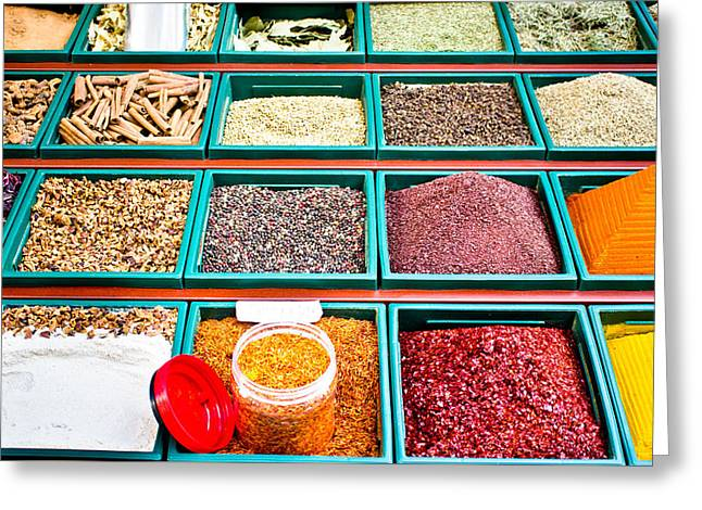 Asian Market Greeting Cards - Spice stall Greeting Card by Tom Gowanlock