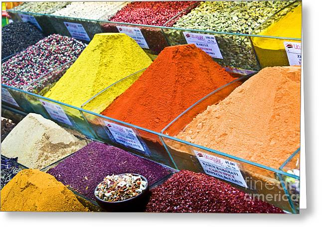 Powder Greeting Cards - Spices Greeting Card by Delphimages Photo Creations