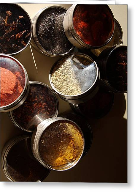 Food And Beverages Greeting Cards - Spices Greeting Card by Heather S Huston