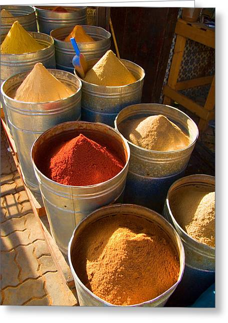 Merchants Greeting Cards - Spices in Marrakesh Morroco Greeting Card by David Smith