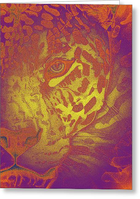 Jaguars Mixed Media Greeting Cards - Spicy Jaguar Greeting Card by Mayhem Mediums
