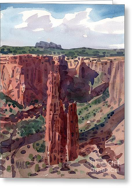Navajo Tribal Park Greeting Cards - Spider Rock Overlook Greeting Card by Donald Maier