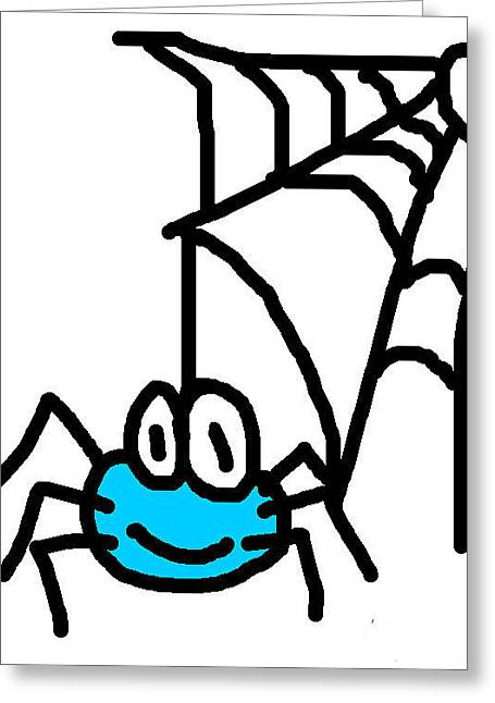 Spider Digital Art Greeting Cards - Spider with Web Greeting Card by Jera Sky