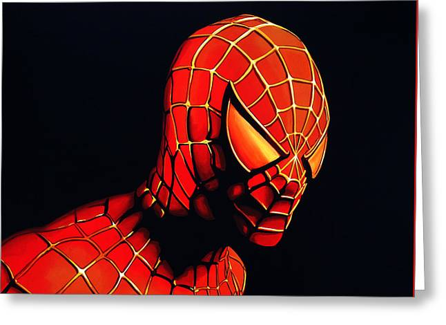 Character Portraits Greeting Cards - Spiderman Greeting Card by Paul Meijering