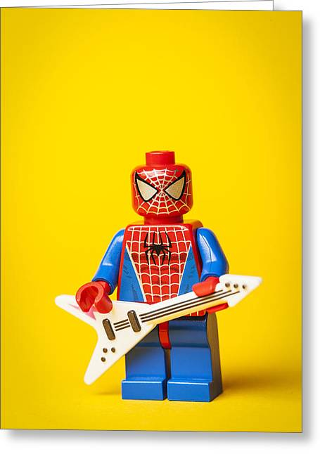 Lego Greeting Cards - Spiderman Rocks out Greeting Card by Samuel Whitton