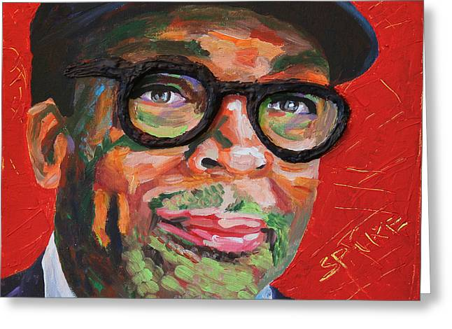 Knicks Greeting Cards - Spike Lee Portrait Greeting Card by Robert Yaeger