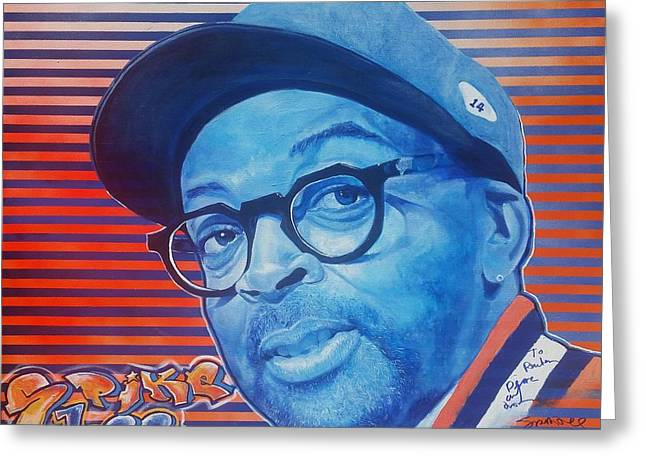 Knicks Greeting Cards - Spike Lee Greeting Card by Reuben Cheatem