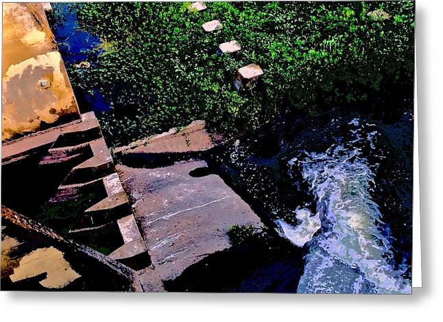 Blue Green Water Greeting Cards - Spillway Greeting Card by Scott L Holtslander