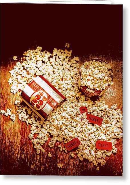 Spilt Tubs Of Popcorn And Movie Tickets Greeting Card by Jorgo Photography - Wall Art Gallery