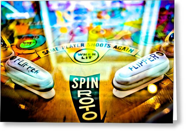 Fast Ball Greeting Cards - Spin Roto - Pinball Machine Greeting Card by Colleen Kammerer