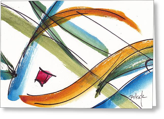 Red Green And Gold Abstracts Greeting Cards - Spindle Back Abstract #2 Greeting Card by Pat Katz
