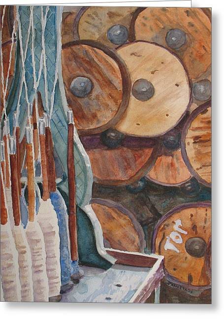 Spindles And Spools Greeting Card by Jenny Armitage