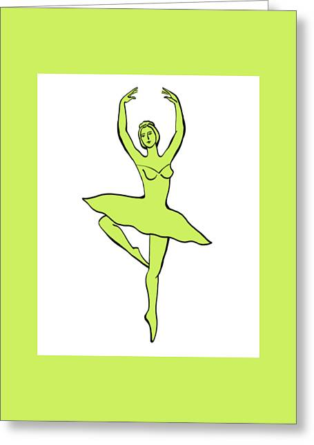 Lessons Greeting Cards - Spinning Ballerina Silhouette Greeting Card by Irina Sztukowski