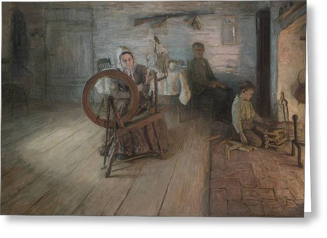 Spinning By Firelight Greeting Card by Henry Ossawa Tanner