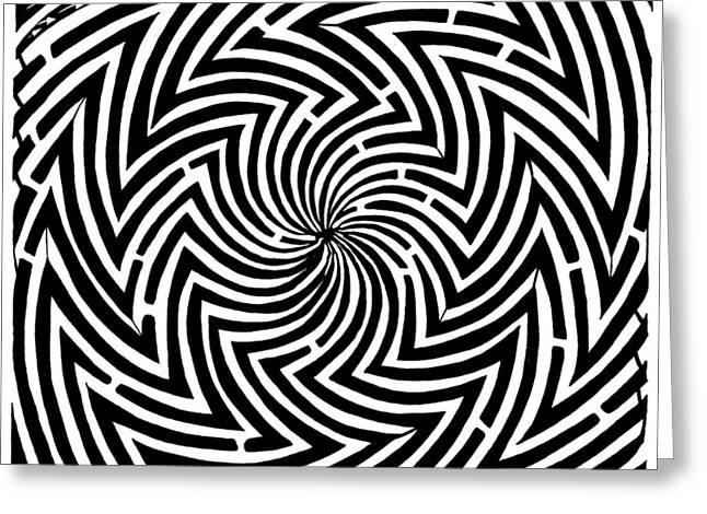 Yonatan Mixed Media Greeting Cards - Spinning Optical Illusion Maze Greeting Card by Yonatan Frimer Maze Artist
