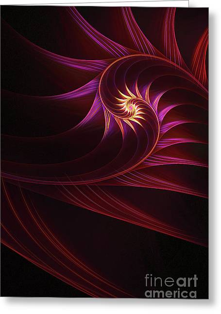Apophysis Digital Art Greeting Cards - Spira mirabilis Greeting Card by John Edwards