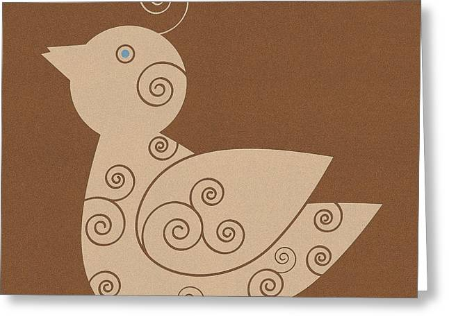 Spiral Bird Greeting Card by Frank Tschakert