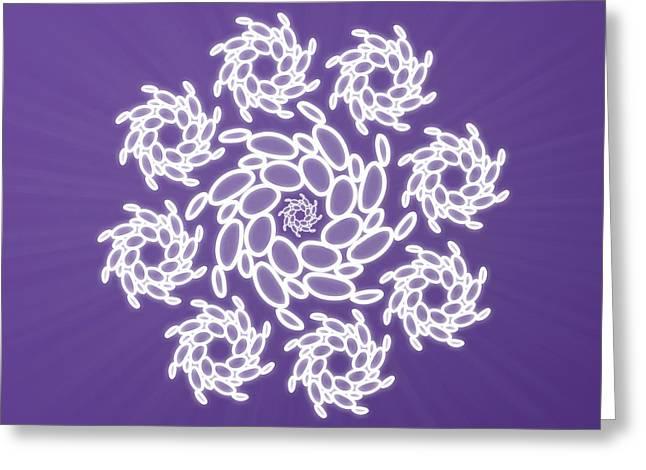 Purple Chakra Greeting Cards - Spiral Dance Greeting Card by Sallie Keys