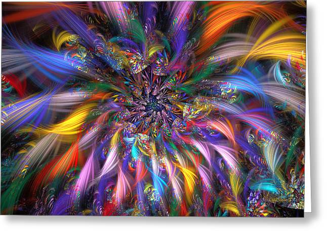 Abstract Digital Digital Greeting Cards - Spiral Fireworks Greeting Card by Peggi Wolfe