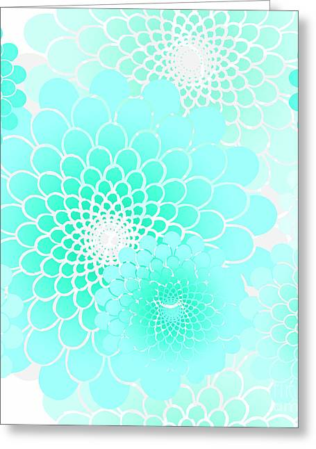 Spiral Flowers Leaves, Turquoise Geometric Floral Pattern Greeting Card by Tina Lavoie