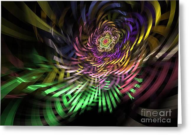 Spiral Rainbow Greeting Card by Deborah Benoit