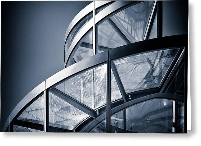 Reflective Greeting Cards - Spiral Staircase Greeting Card by Dave Bowman