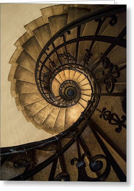 Black Top Greeting Cards - Spiral Staircase in brown and beige tones Greeting Card by Jaroslaw Blaminsky
