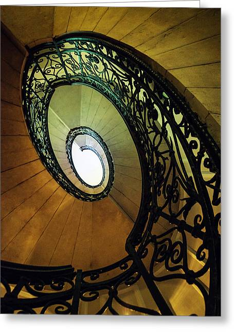Black Top Greeting Cards - Spiral staircase in brown and green tones Greeting Card by Jaroslaw Blaminsky