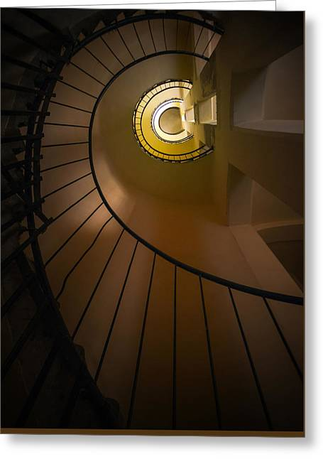 Black Top Greeting Cards - Spiral staircase in brown and yellow tones Greeting Card by Jaroslaw Blaminsky