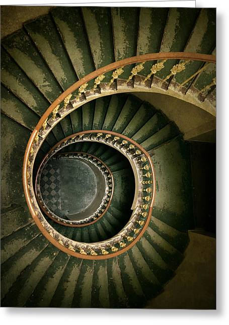 Wooden Stairs Greeting Cards - Spiral staircase  in green and yellow Greeting Card by Jaroslaw Blaminsky